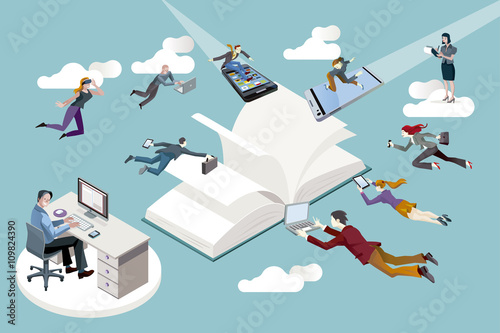 Fotomural  Empleados de una empresa editorial y nuevas tecnologías