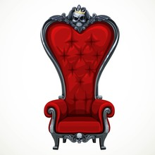 Armchair Upholstered In Red And High-backed Baroque Isolated On