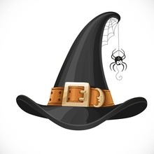 Witch Hat Leather Belt With Shiny Buckle And Spider On Web Isola