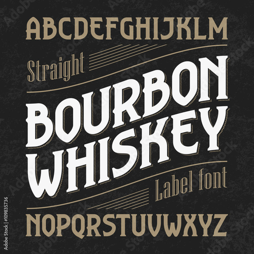 Canvas Bourbon whiskey label font with sample design