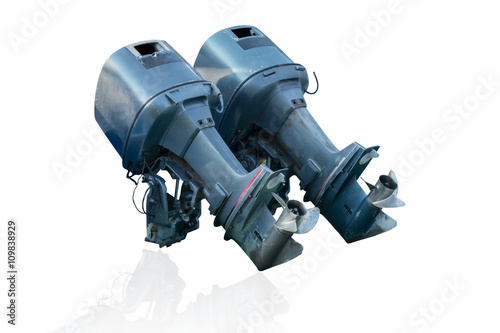 old speed boat engine isolate - Buy this stock photo and