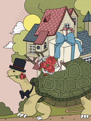 Plakat gentlemen turtle adult coloring page