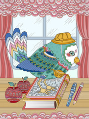 Plakat adorable bird adult coloring page