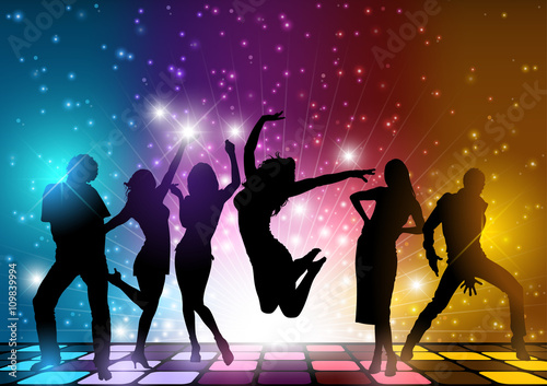 Obrazy na płótnie Canvas Party People Background - Dancing Silhouettes Illustration, Vector
