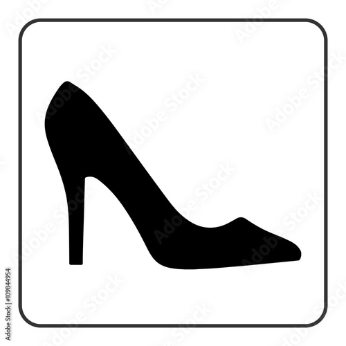 e2244b6d High heel shoes icon. Elegant black silhouette. Information sign. Women  shoe symbol. Fashion label. Female of shoe in square isolated on white  background.