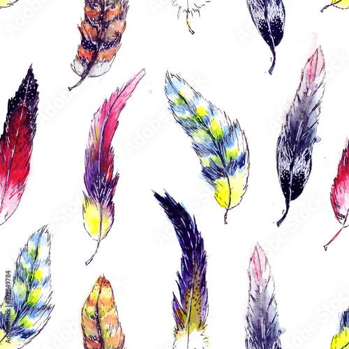 Cotton fabric Beautiful feathers seamless background