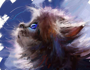 Fototapeta Kot Cat. Digital painting.