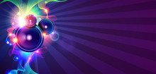 Disco Music Background With Sound Waves And Speakers