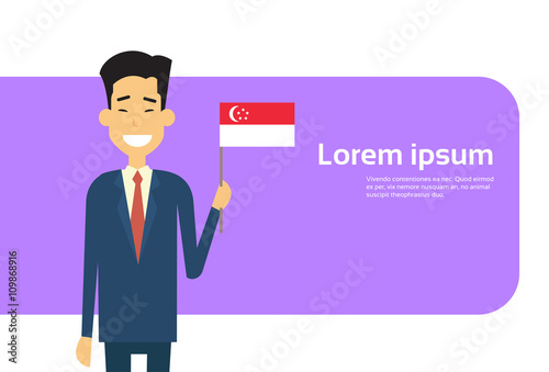 Photo  Asian Business Man Hold Singaporean Flag Singapore Businessman Banner With Copy