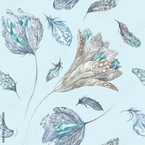 feather-flowers-watercolor-pattern