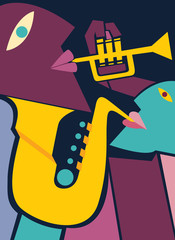 Fototapeta Muzyka / Instrumenty Saxophone and Trumpet Players, Jazz Art (vector Art)