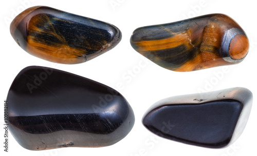 Photo  set of various hawks eye gemstone isolated