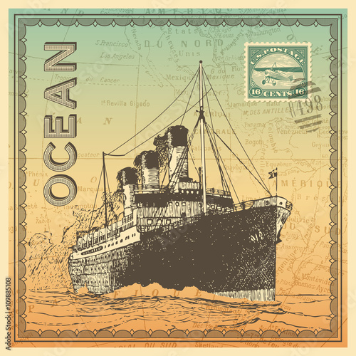 Photo travel themed card/background with vintage ocean liner, map and postage design e