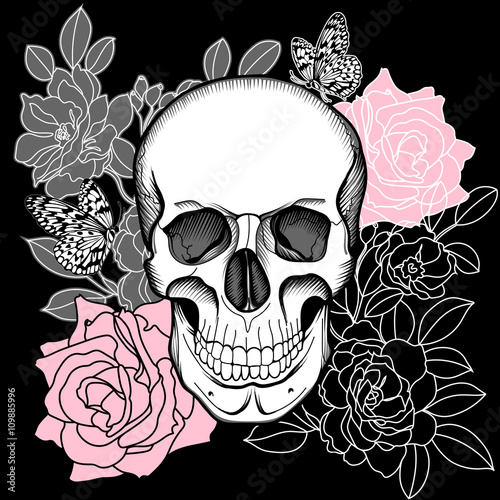 Printed kitchen splashbacks Watercolor skull Skull and flowers. Day of The Dead. Vintage Vector.