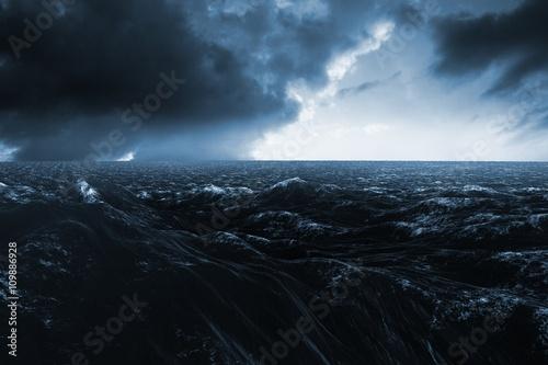 Composite image of rough blue ocean