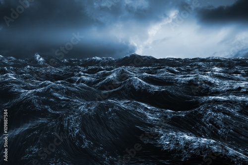 Composite image of rough blue ocean