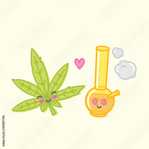 Photo  Kawaii weed love bong vector illustration