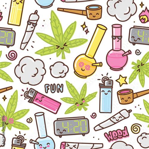 Photo  Marijuana kawaii cartoon seamless vector pattern