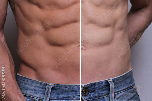 Obraz Man self tanning before and after results - fototapety do salonu