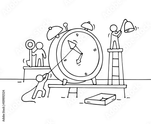 Sketch Of Alarm Clock With Working Little People Doodle Cute
