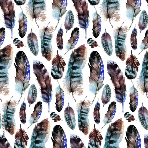 Fotografie, Tablou  Watercolor feather pattern