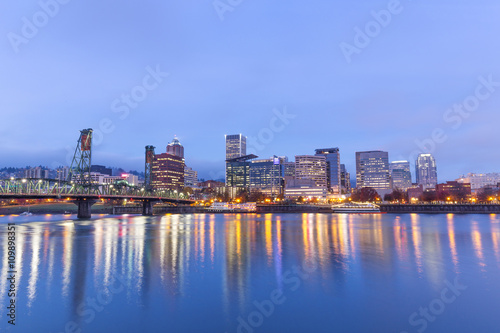 Aluminium Prints City building water,cityscape and skyline of portland in blue sky