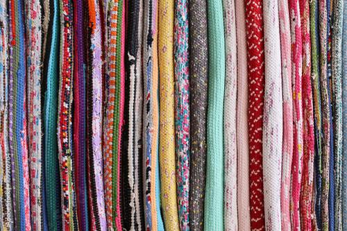 Fotografering  Handmade carpets folded stack