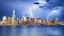 Manhattan Skyline At Night, Ne...