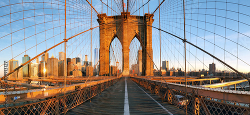 Brooklyn bridge panorama in New York, Lower Manhattan