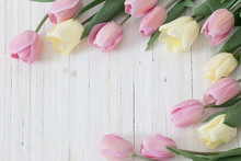 Beautiful Tulips On Wooden Bac...