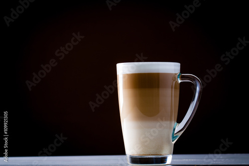 Fotografie, Obraz  Original latte macchiato coffee in transparent glass..