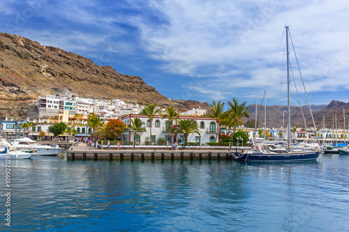 Marina of Puerto de Mogan, a small fishing port on Gran Canaria, Spain.