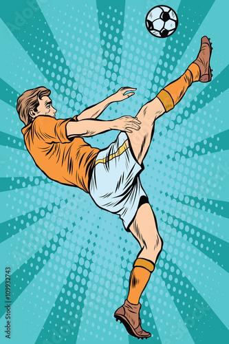 Football soccer player kick the ball - 109932743