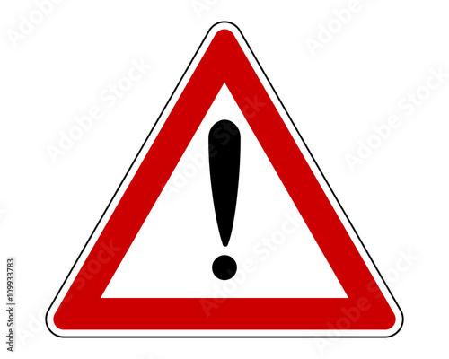 Fotografia  Warnschild mit Ausrufezeichen und Zusatzinformation