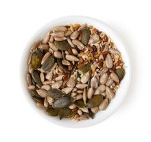 Bowl Of Mixed Seeds Isolated On White, Top View