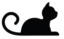 Symbolic Silhouette Of A Lying Cat Isolated On White