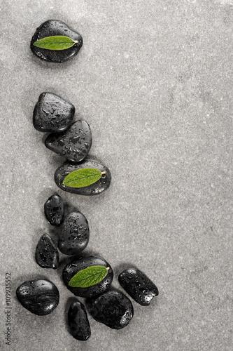 kamienie-bazaltowe-spa-i-zielone-liscie-z-kroplami-wody