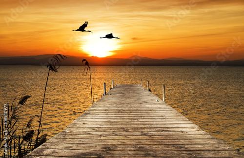 Photo sur Aluminium Mer coucher du soleil puesta de sol sobre el embarcadero del mar