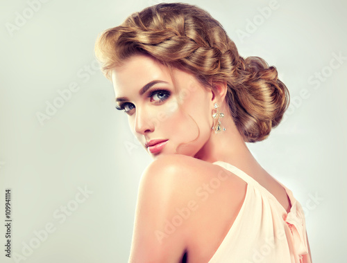 Fotografie, Obraz  Beautiful model girl with elegant hairstyle