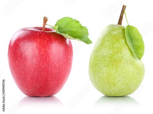 Staande foto Vruchten Apfel und Birne Frucht Früchte Obst Freisteller freigestellt is