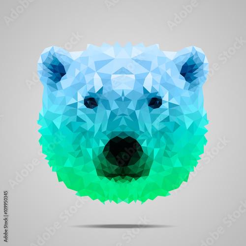 Fotografía Polar bear poly gradient blue green