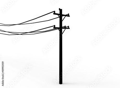 Fotografie, Obraz  3d illustration of simple electric pole with wires