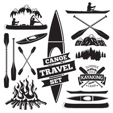 Set Of Canoe And Kayak Design Elements. Two Man In A Boat, Oars, Mountains, Campfire, Forest, Label. Vector