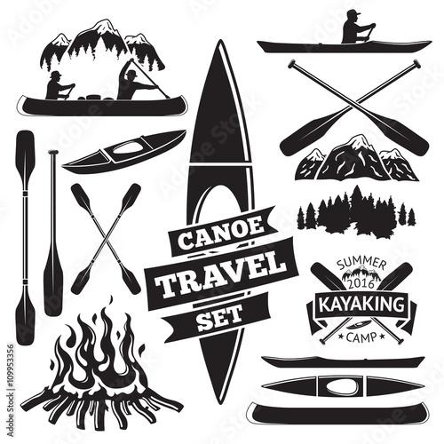 Slika na platnu Set of canoe and kayak design elements