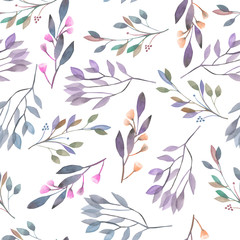 Panel SzklanySeamless pattern with watercolor leaves and branches on a white background, hand drawn in a pastel, wedding decoration