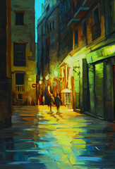 Fototapeta Miasto nocą night landscape in barcelona gothic quarter with the rain, painting