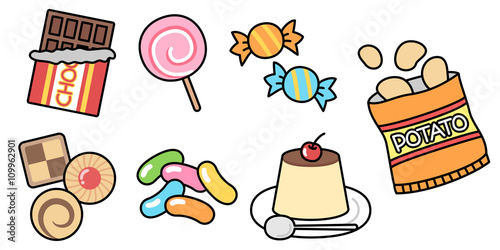 お菓子のイラスト セット素材 チョコ クッキー キャンディ ポテチ プリン Compre Esta Ilustracao E Explore Ilustracoes Semelhantes No Adobe Stock Adobe Stock