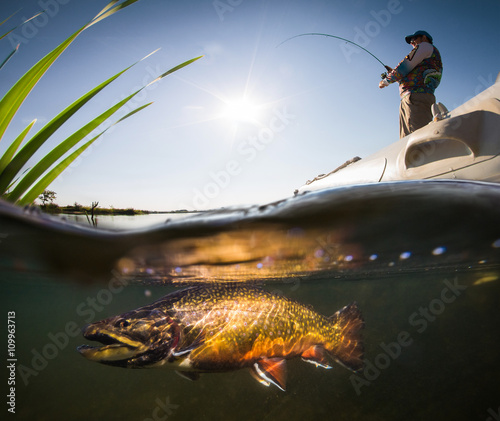 Printed kitchen splashbacks Fishing Fisherman with rod in the boat and underwater view