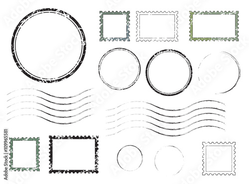 Canvas-taulu Set of postal stamps and postmarks, isolated on white background, vector illustration