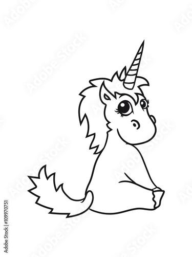 Unicorn Unicorn Foal Sweet Cute Sitting Comic Cartoon Pony Horse
